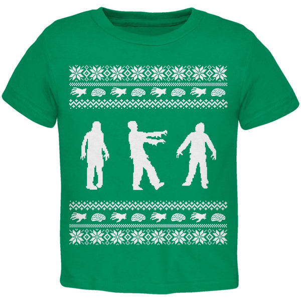 Zombie Ugly Christmas Sweater Green & White Toddler T-Shirt