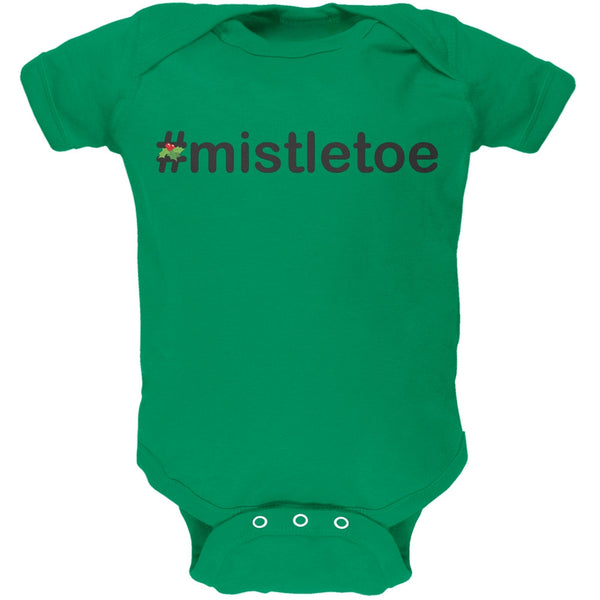 #Mistletoe Christmas Hashtag Green Soft Baby One Piece