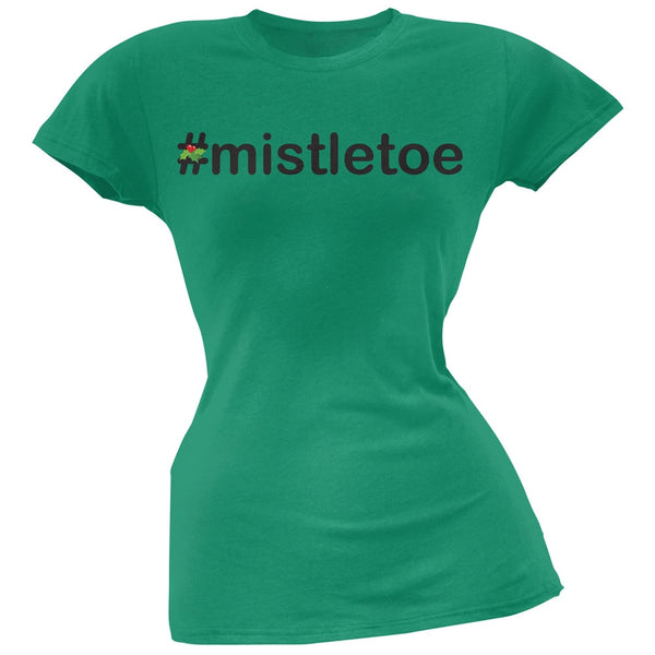 #Mistletoe Christmas Hashtag Green Soft Juniors T-Shirt