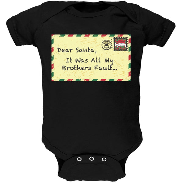 Dear Santa It Was All My Brothers Fault Black Baby One Piece