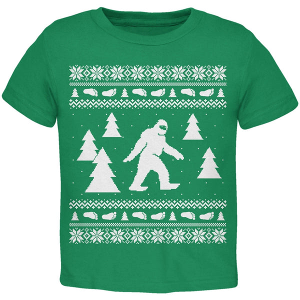 Sasquatch Ugly Christmas Sweater Green Toddler T-Shirt