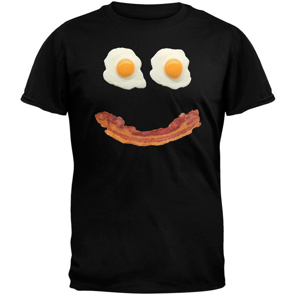 Mr. Happy Smiley Face Bacon And Eggs Black Adult T-Shirt