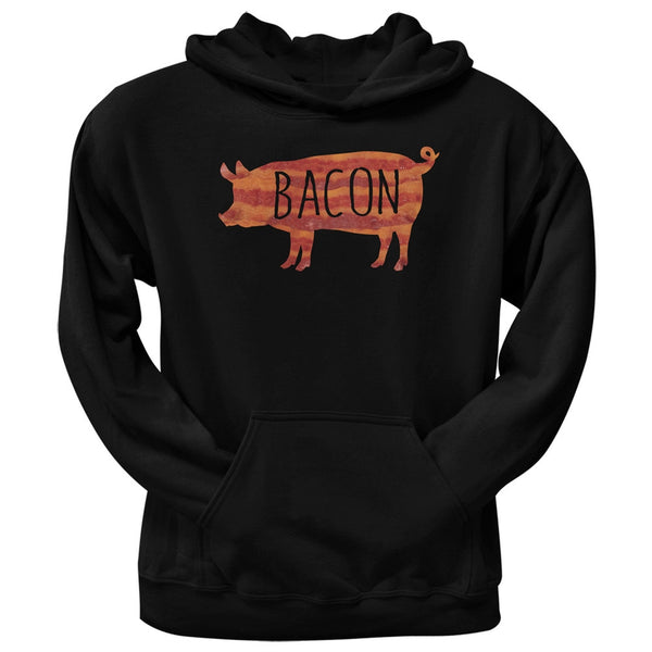 Bacon Pig Silhouette Black Adult Pullover Hoodie
