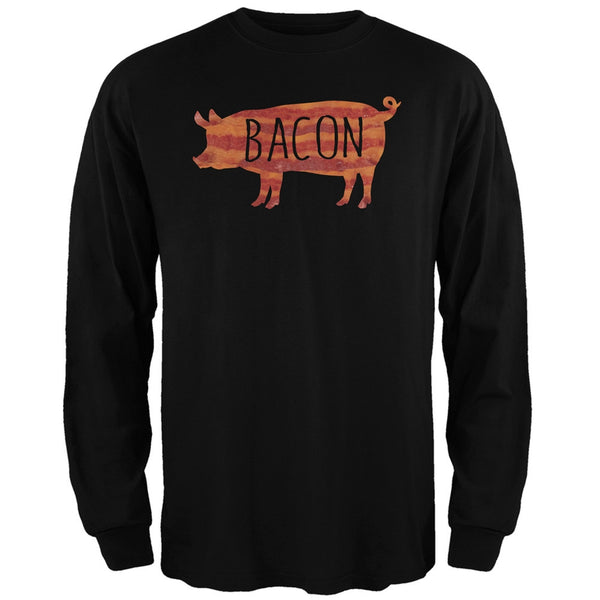 Bacon Pig Silhouette Black Adult Long Sleeve T-Shirt