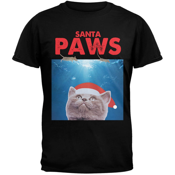 Santa Paws Black Adult T-Shirt