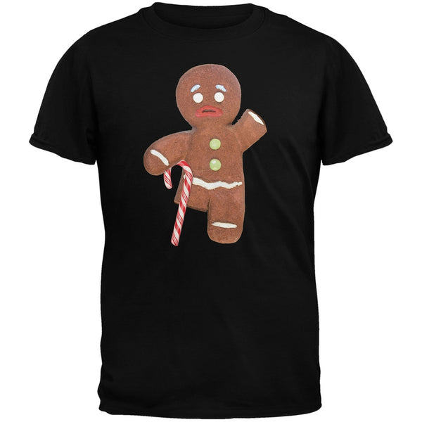 Ginger Bread Man With Candy Cane Crutch Black Adult T-Shirt