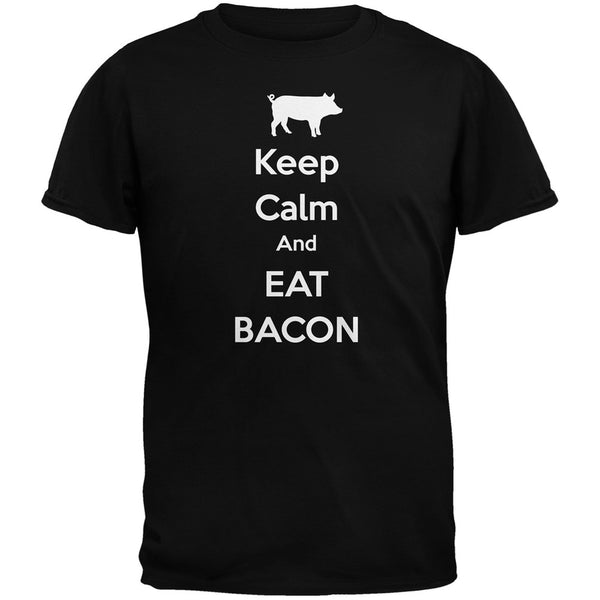 Keep Calm And Eat Bacon Black Youth T-Shirt