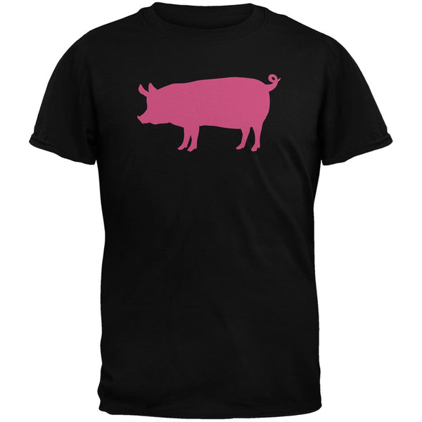 Pink Pig Silhouette Black Adults T-Shirt