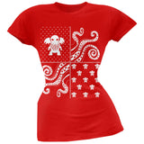 Cthulhu Lovecraft Dimensions Ugly Christmas Sweater Black Soft Juniors T-Shirt