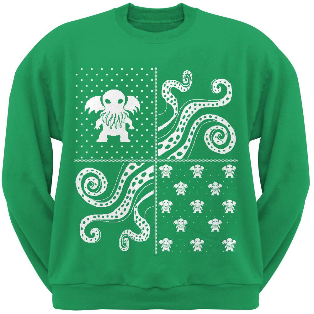 Cthulhu Lovecraft Dimensions Ugly Christmas Sweater Forest Green ...