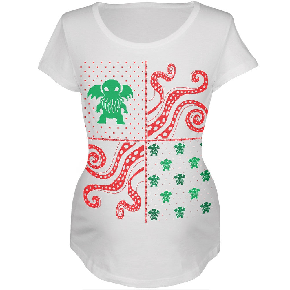 cthulhu lovecraft ugly christmas sweater white womens soft maternity t shirt - Maternity Christmas Sweater
