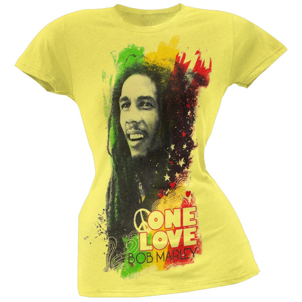 Bob Marley - One Love Portrait Juniors Yellow T-Shirt