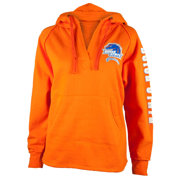 Boise State Broncos - Glitter Team Orange V-Neck Juniors Pullover Hoodie