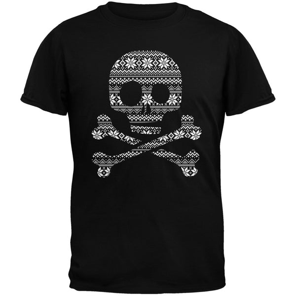 Skull & Crossbones Silhouette Ugly Christmas Sweater Black Adult T-Shirt