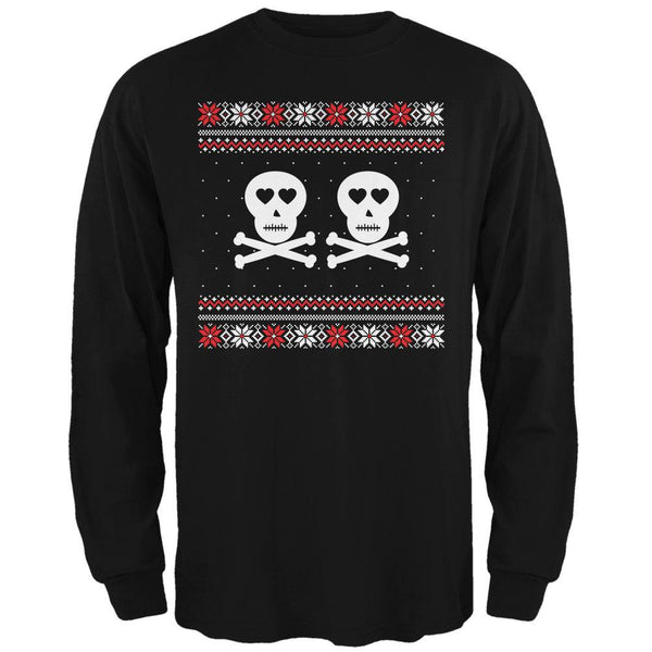 Skull and Crossbones Lovers Ugly Christmas Sweater Black Adult Long Sleeve T-Shirt