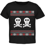 Skull and Crossbones Lovers Ugly Christmas Sweater Black Toddler T-Shirt