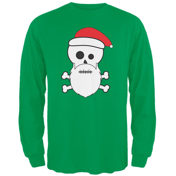 Skull and Crossbones Santa Irish Green Adult Long Sleeve T-Shirt
