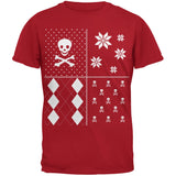 Skull and Crossbones Festive Blocks Ugly Christmas Sweater Black Youth T-Shirt