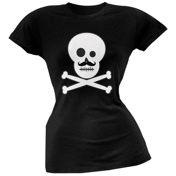 Skull and Crossbones Mustache Black Juniors T-Shirt