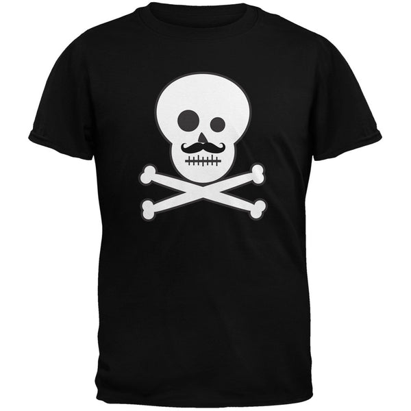 Skull and Crossbones Mustache Black Youth T-Shirt
