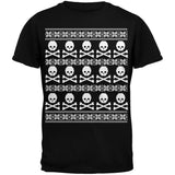 Big Skull And Crossbones Pattern Ugly Christmas Sweater Black Adult T-Shirt