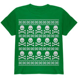 Big Skull And Crossbones Pattern Ugly Christmas Sweater Black Youth T-Shirt