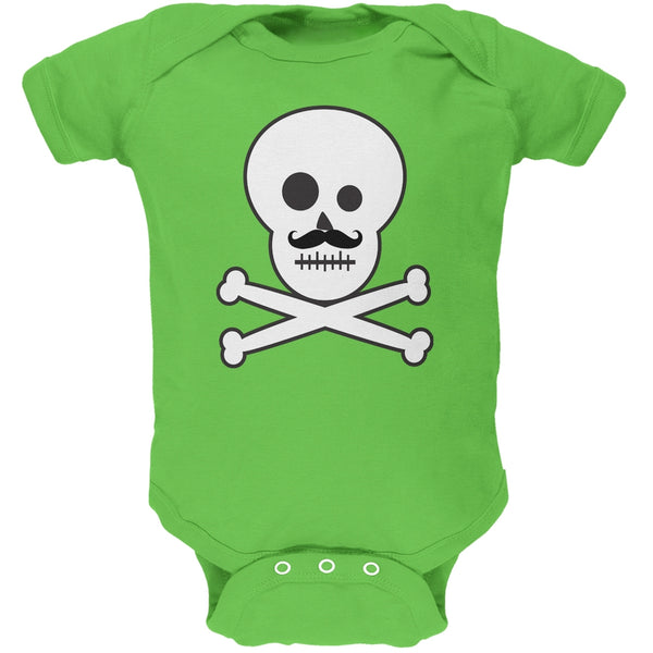 Skull and Crossbones Mustache Green Baby One Piece