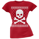 Giant Skull And Crossbones Ugly Christmas Sweater Black Juniors T-Shirt