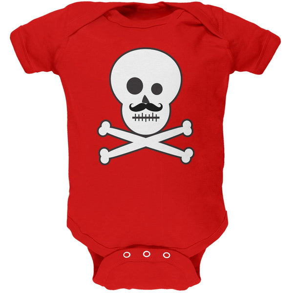 Skull and Crossbones Mustache Red Baby One Piece