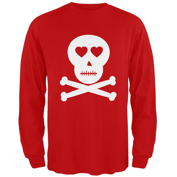 Valentine's Day - Skull And Crossbones Lovers Red Adult Long Sleeve T-Shirt