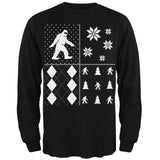 Sasquatch Festive Blocks Ugly XMAS Sweater Forest Adult Long Sleeve T-Shirt