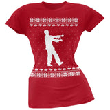 Big Zombie Ugly Christmas Sweater Black Soft Juniors T-Shirt