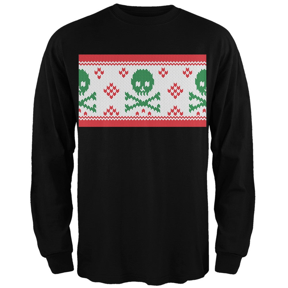 Old Glory Knit Skull and Crossbones Ugly Christmas Sweater Dark Green Adult Sweatshirt