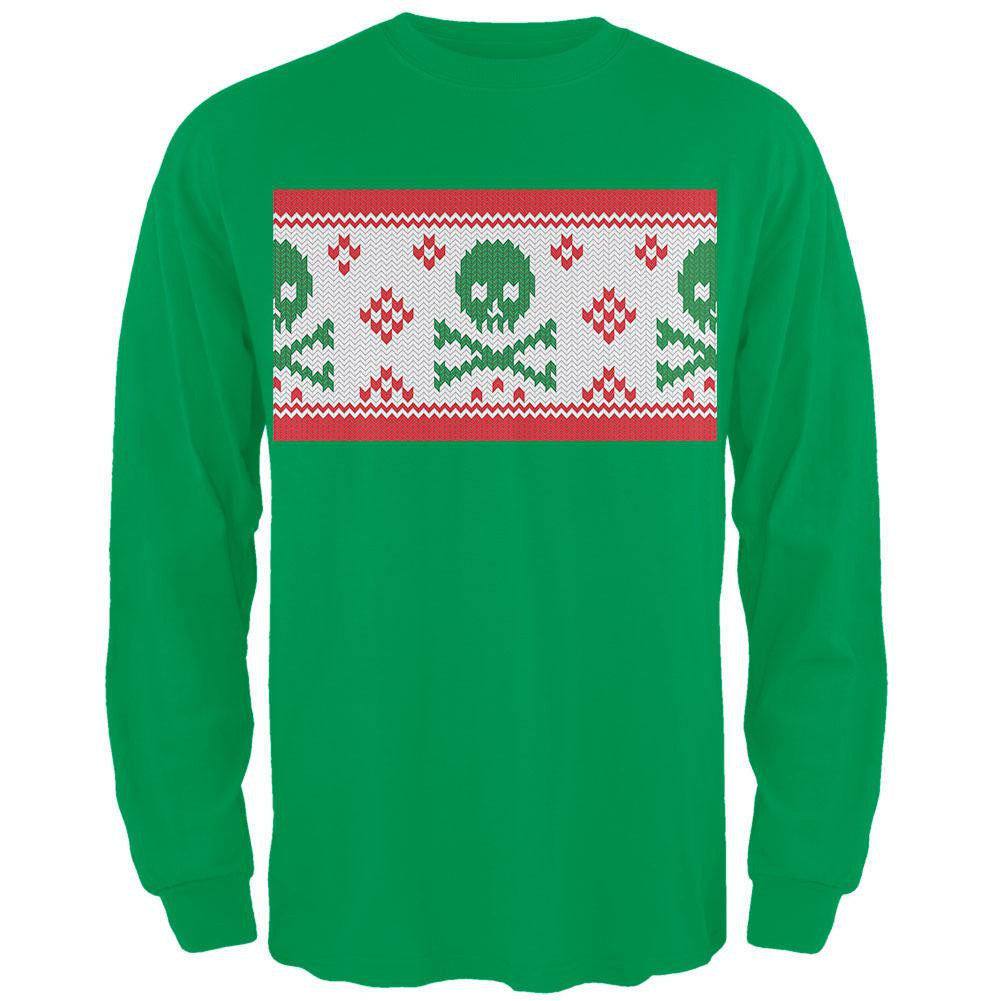 Knit Skull And Crossbones Ugly Christmas Sweater Black Adult Long ...