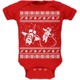 Astronaut in Space Ugly Christmas Sweater Black Soft Baby One Piece
