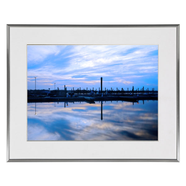 New England Marina Sunset Photo James Crouch 16x20 Silver w White Wall Art
