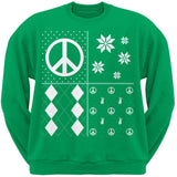 Peace Sign Festive Blocks Ugly Christmas Sweater Black Adult Sweatshirt