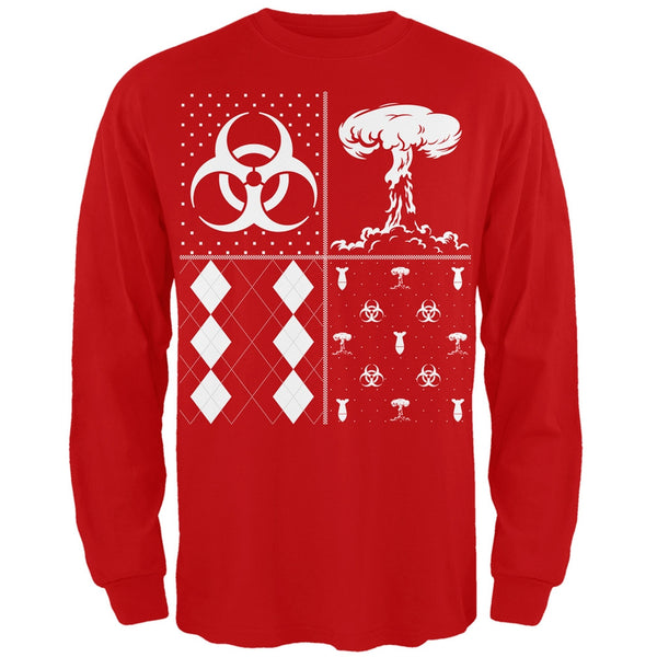 Biohazard Festive Blocks Ugly Christmas Sweater Black Adult Long Sleeve T-Shirt