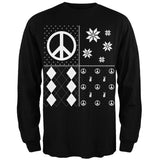 Peace Sign Festive Blocks Ugly Christmas Sweater Black Adult Long Sleeve T-Shirt