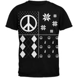 Peace Sign Festive Blocks Ugly Christmas Sweater Black Adult T-Shirt