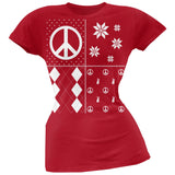 Peace Sign Festive Blocks Ugly Christmas Sweater Black Soft Juniors T-Shirt