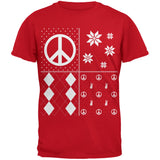 Peace Sign Festive Blocks Ugly Christmas Sweater Black Youth T-Shirt