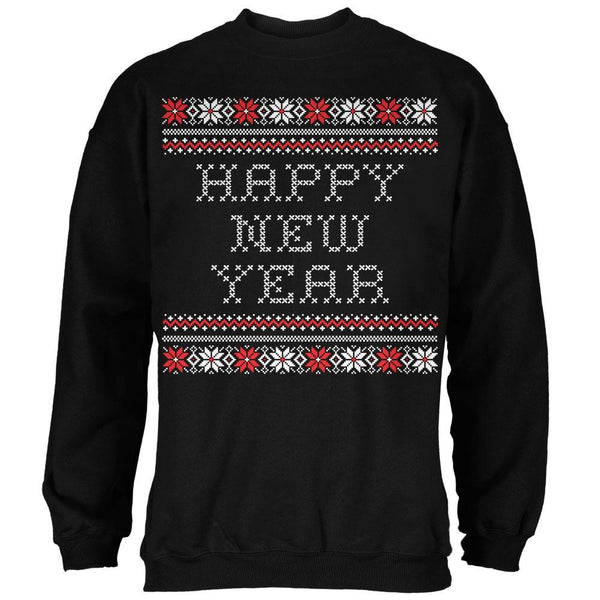 Happy New Year Ugly Christmas Sweater Black Adult Crew Neck Sweatshirt