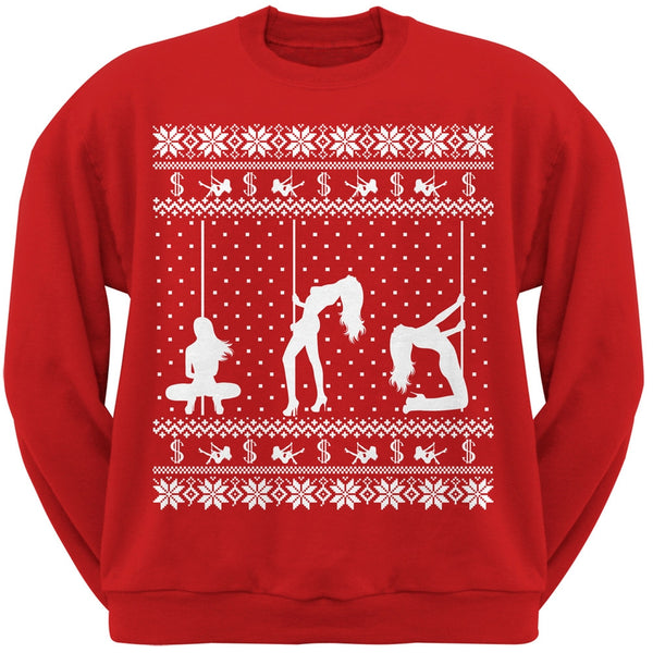 Stripper Silhoutte Ugly Christmas Sweater Black Adult Sweatshirt
