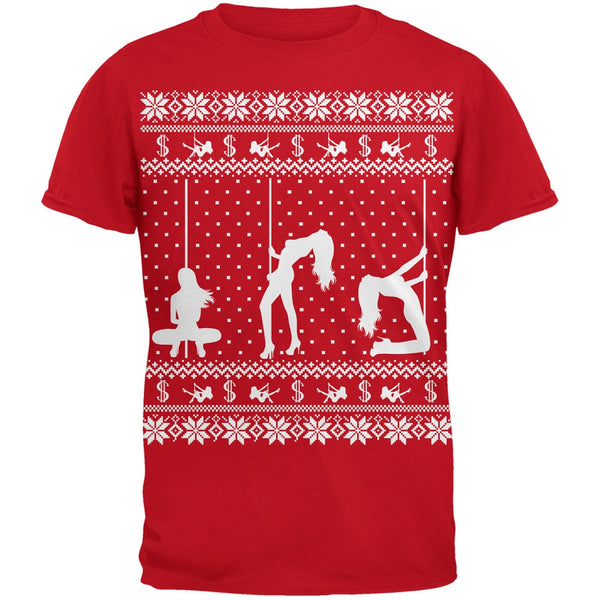 Stripper Silhoutte Ugly Christmas Sweater Black Adult T-Shirt