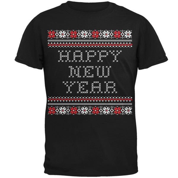 Happy New Year Ugly Christmas Sweater Black Adult Short Sleeve T-Shirt