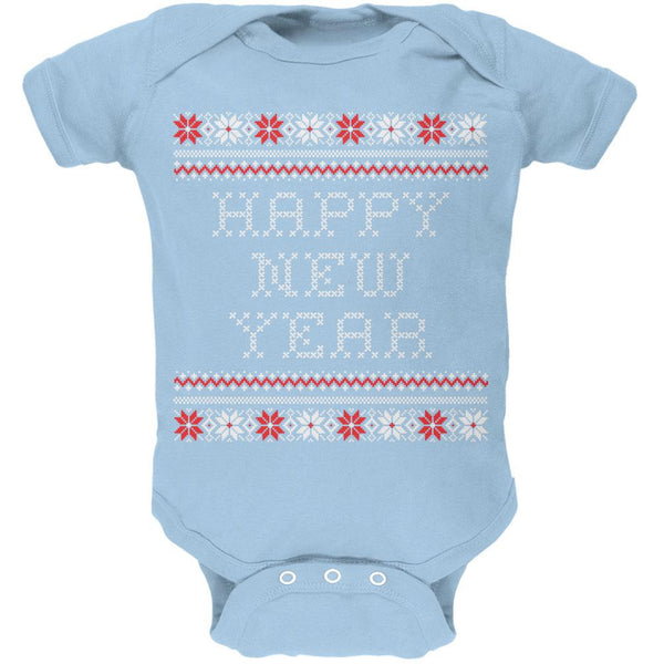 Happy New Year Ugly Christmas Sweater Blue Baby One Piece