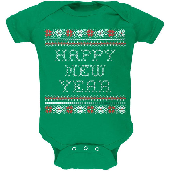 Happy New Year Ugly Christmas Sweater Green Baby One Piece