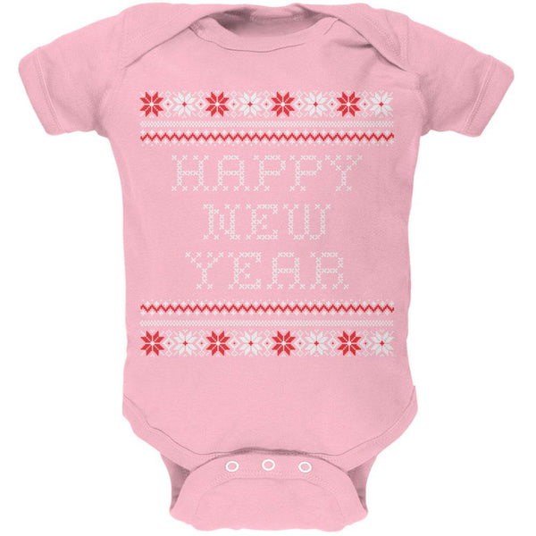 Happy New Year Ugly Christmas Sweater Pink Baby One Piece