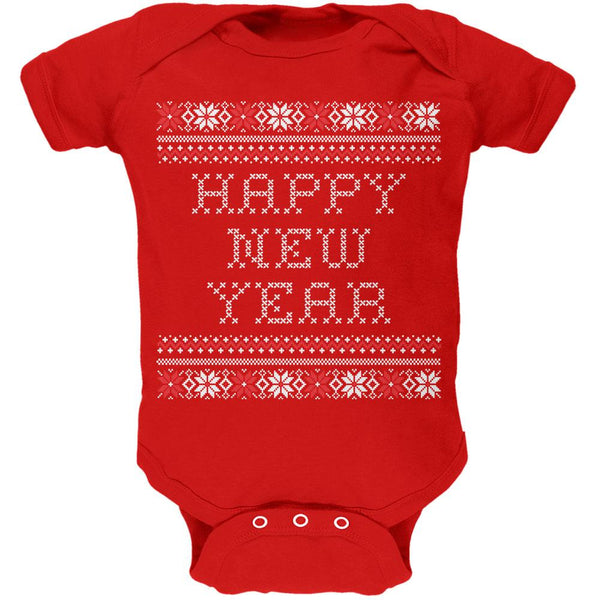 Happy New Year Ugly Christmas Sweater Red Baby One Piece